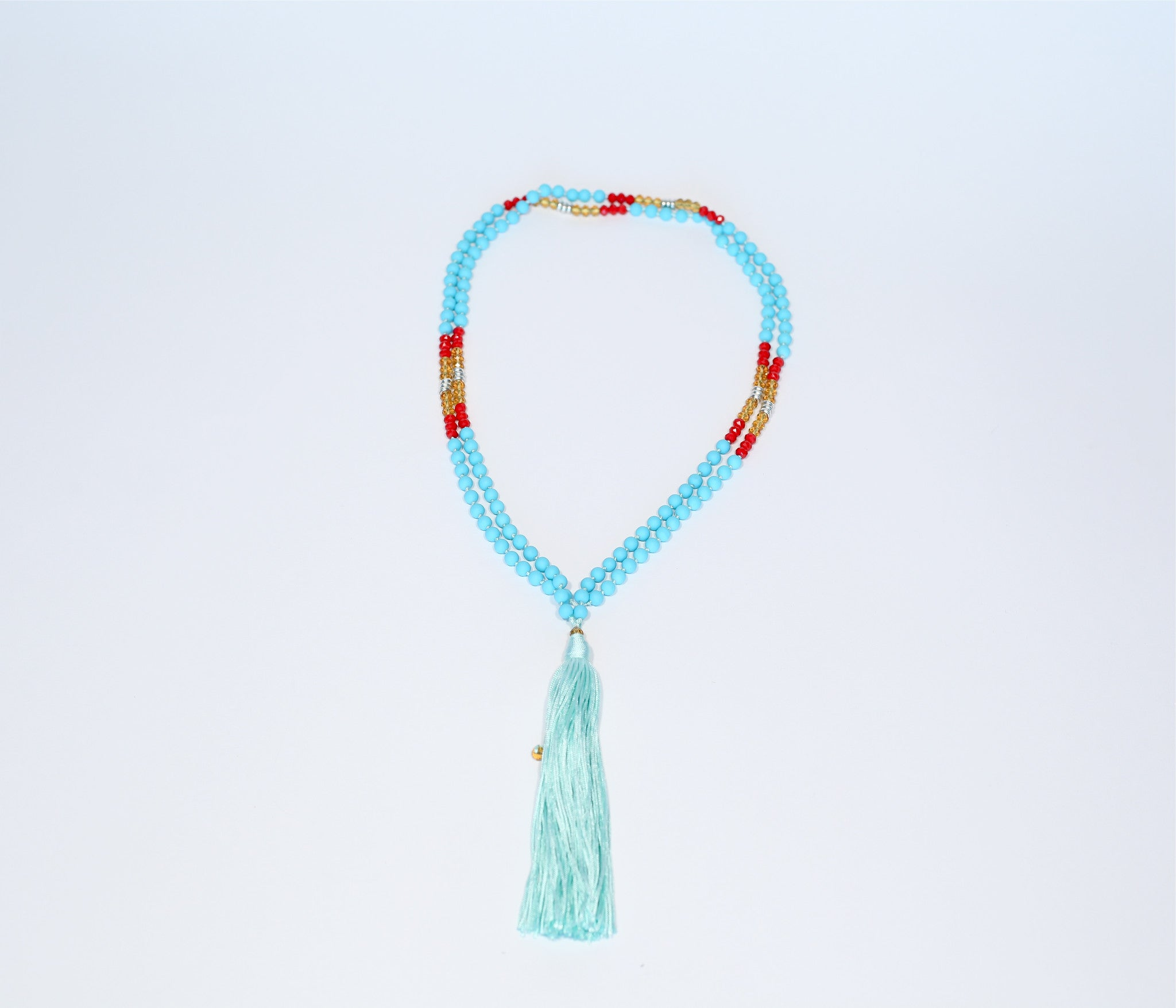 Prayer Necklace - Teal Tassel (teal, red, silver, gold beads)