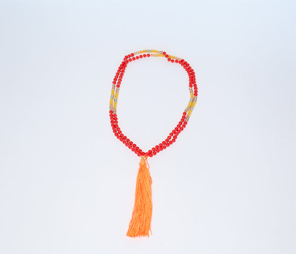 Prayer Necklace - Neon Orange Tassel (red, citrine crystal yellow, silver beads) - Inspired Luxe