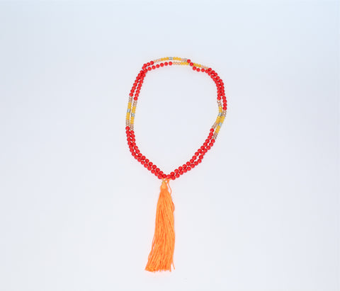 Prayer Necklace - Neon Orange Tassel (red, citrine crystal yellow, silver beads)