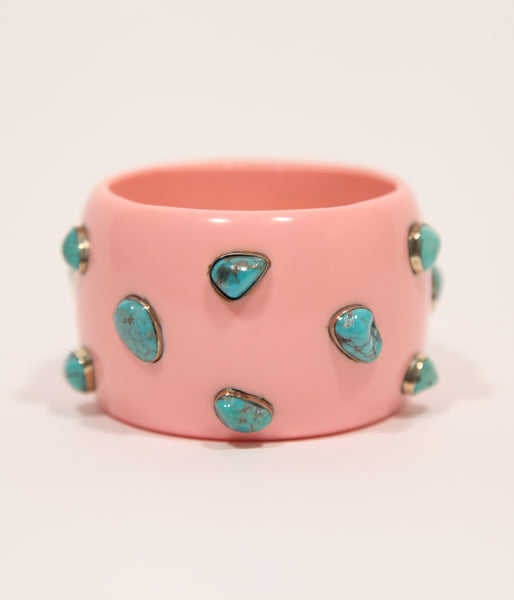 Bangle (Pink Salmon with Turquoise) - Inspired Luxe