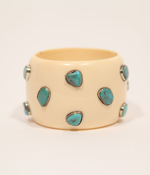 Bangle (Ivory Cream with Turquoise) - Inspired Luxe