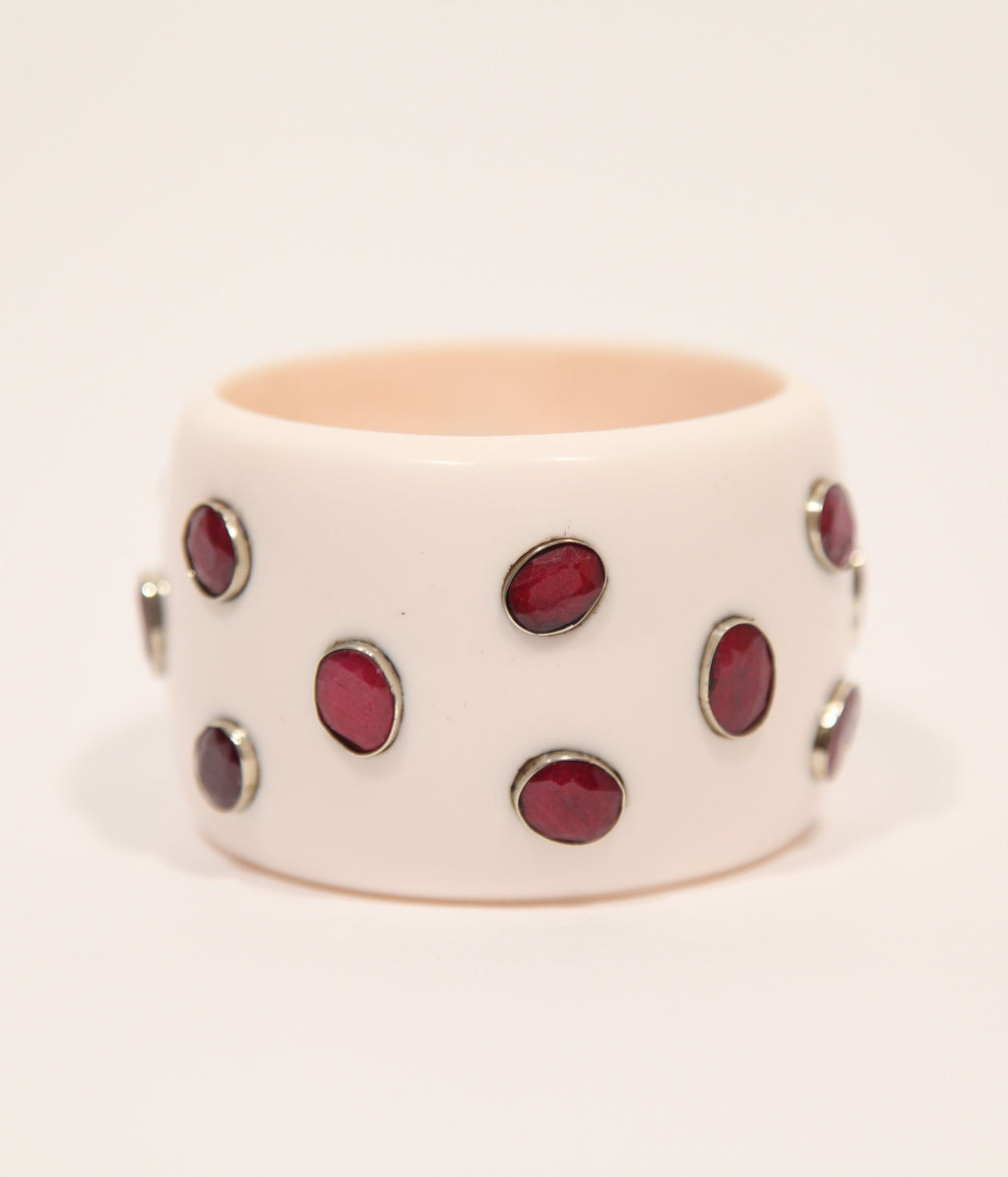 Bangle (Ivory with Ruby) - Inspired Luxe
