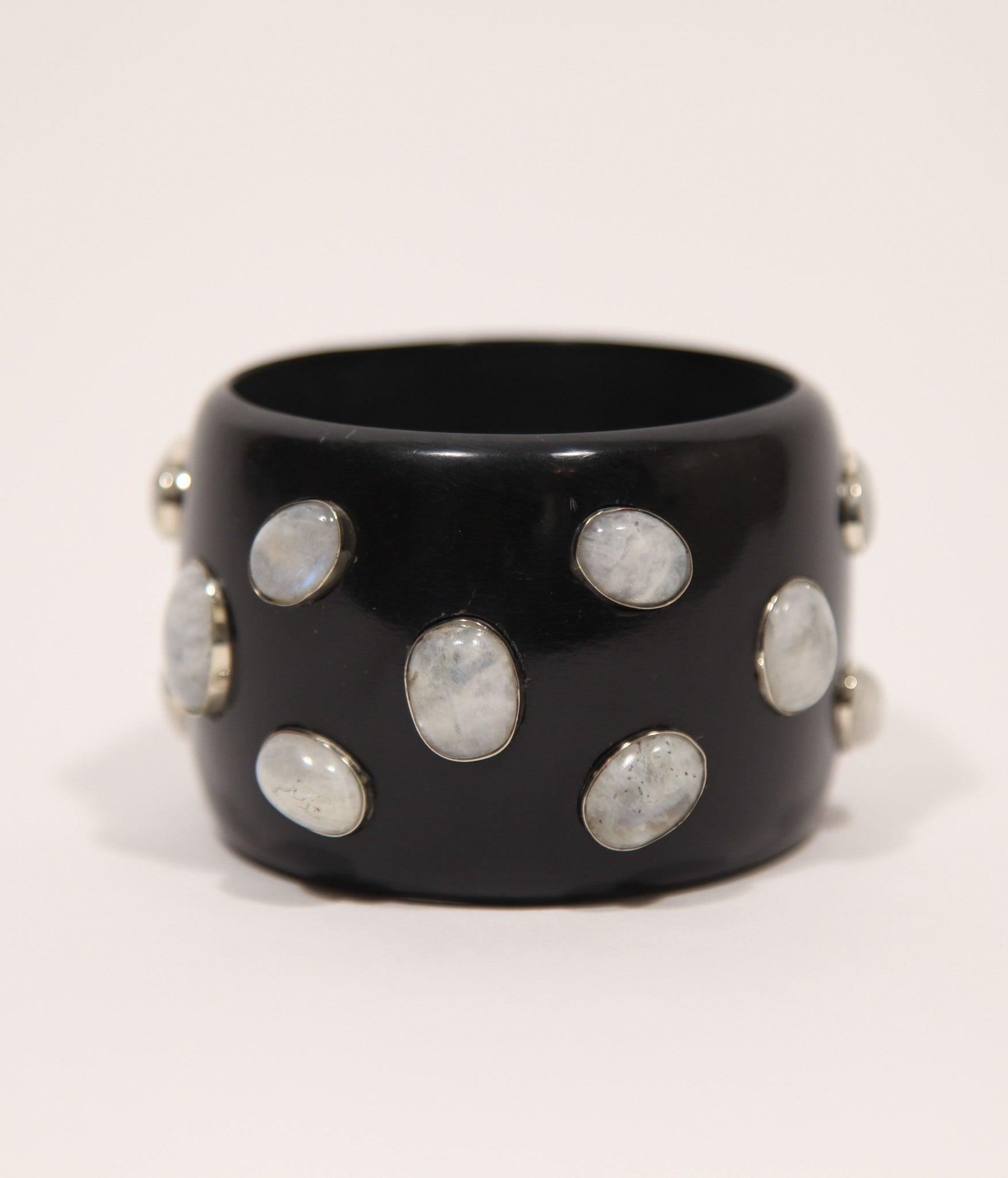 Bangle (Black Raven with Moonstone) - SOLD OUT - Inspired Luxe
