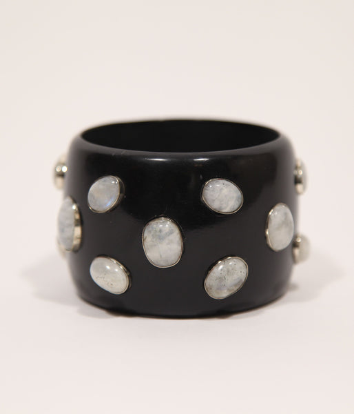Bangle (Black Raven with Moonstone) - Inspired Luxe