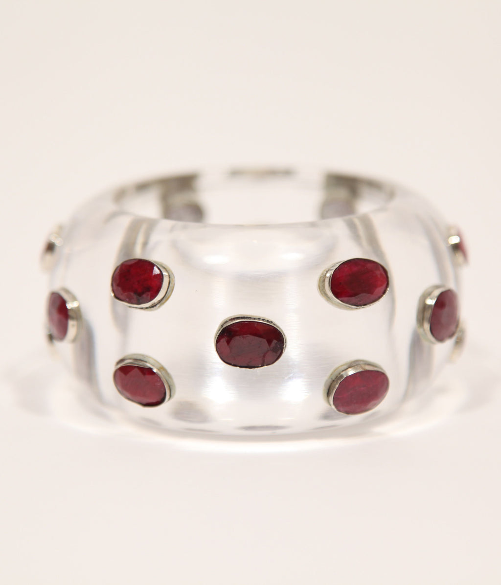 Bangle (Clear Acrylic with Ruby Corundum) - Inspired Luxe