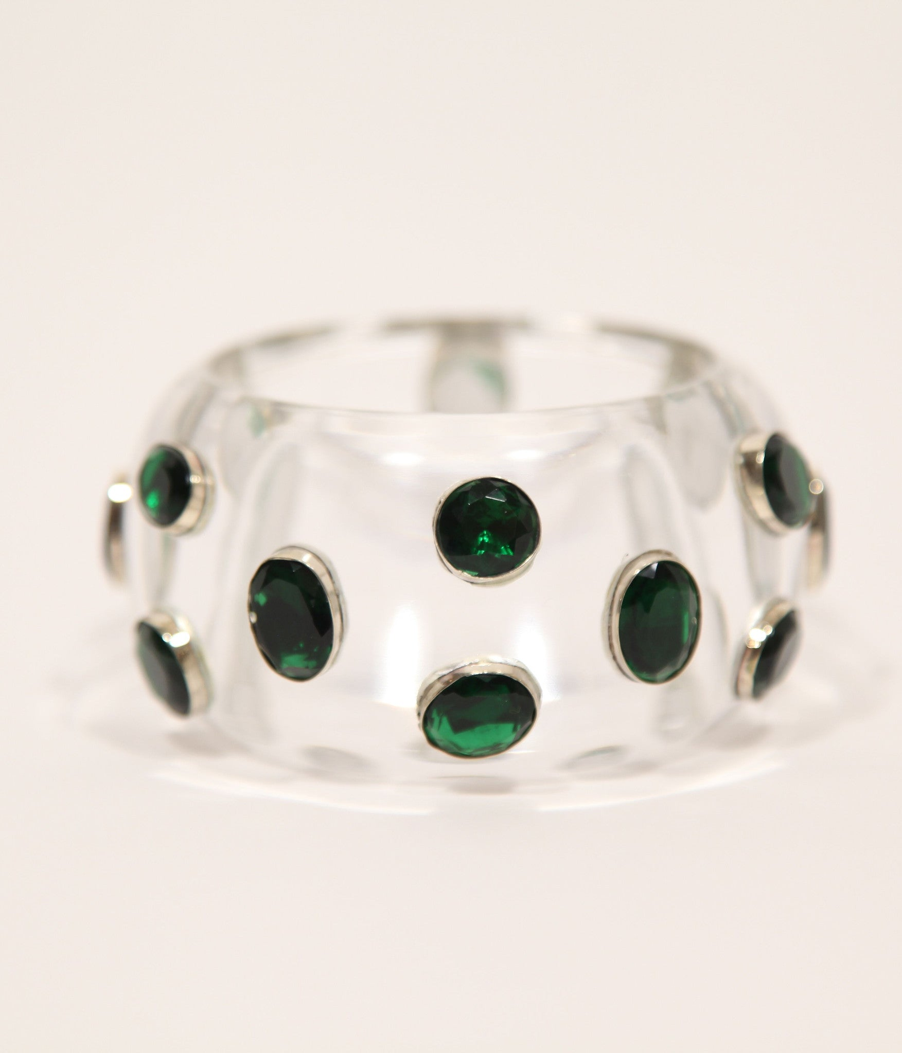 Bangle (Clear Acrylic with Green Hydro Quartz) - Inspired Luxe