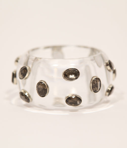 Bangle (Clear Acrylic with Smoky Quartz) - Inspired Luxe