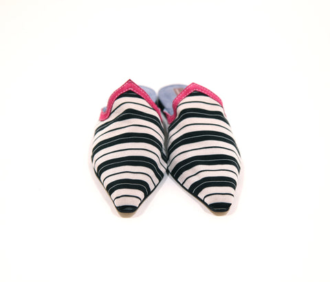 Moroccan  Black and White Striped Slip-on Flats