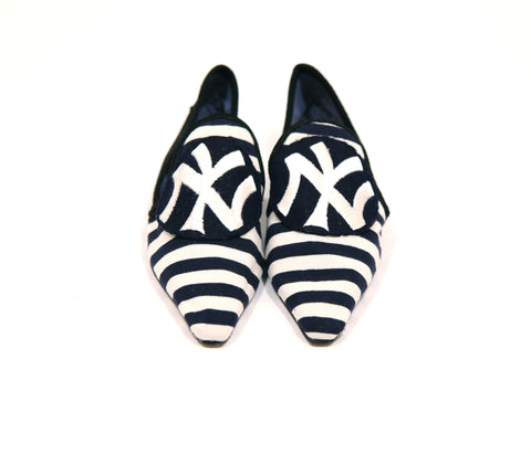 Moroccan Black & White Stripe Smoking Slippers