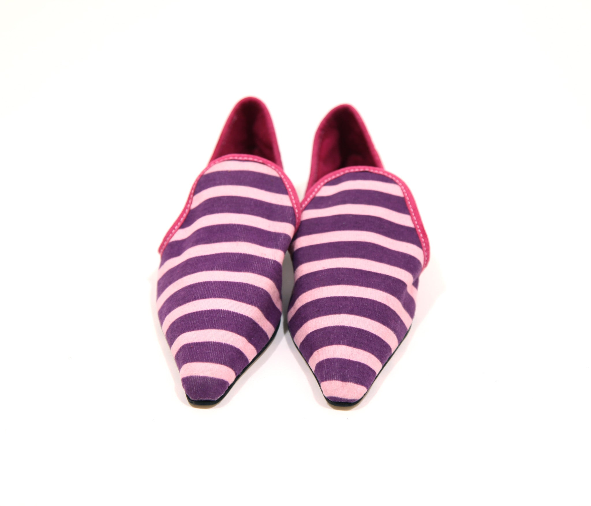 Moroccan Smoking Slippers with Purple & Pink Stripes