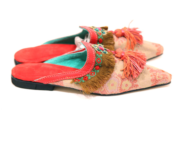 Moroccan Fringed Coral Peach & Taupe Slip-on Open-back Clogs with Tassels - Inspired Luxe