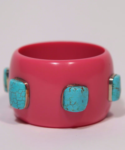 Bangle (Coral with Turquoise)