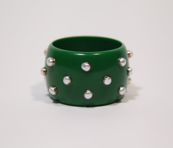 Bangle (Green Seaweed with Pearls) - Inspired Luxe