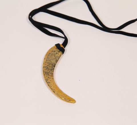 Brass Horn Pendant Necklace