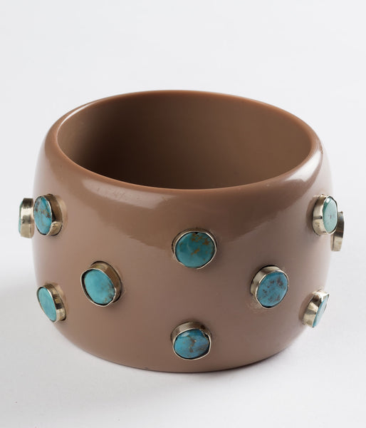 Bangle (Taupe with Turquoise) - Inspired Luxe