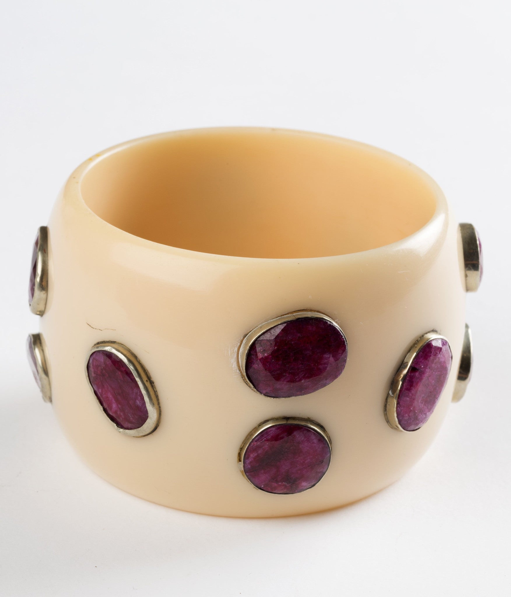 Bangle (Ivory Cream with Ruby) - Inspired Luxe