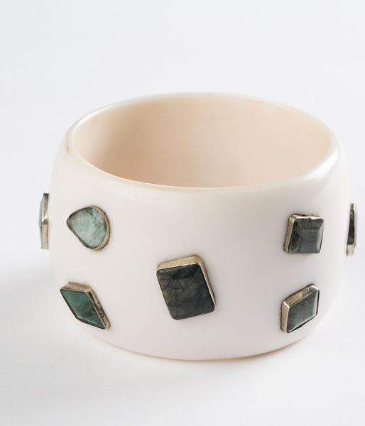 Bangle (Ivory with Emerald) - Inspired Luxe