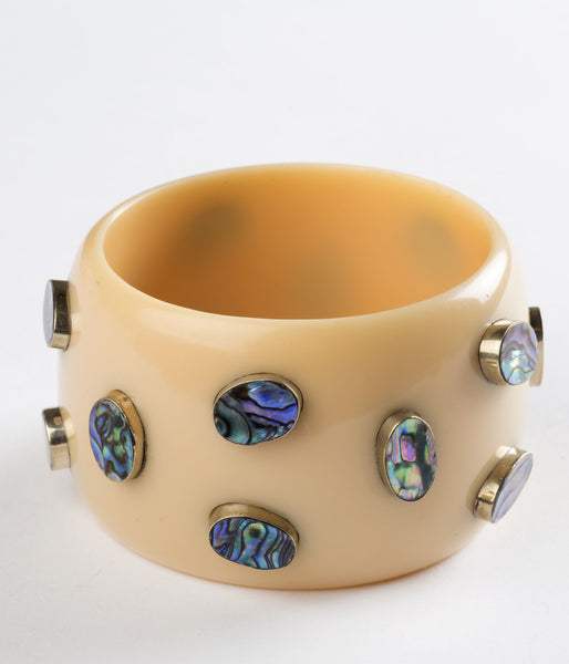 Bangle (Tan Taupe with Abalone) - Inspired Luxe