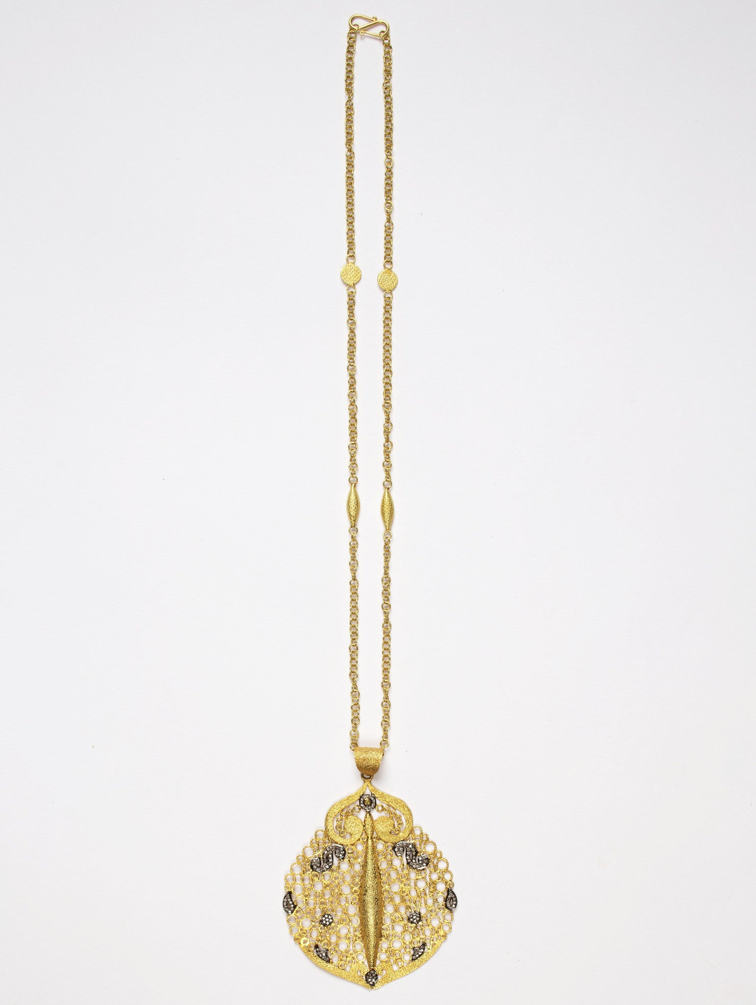 Hawa Pendant with JS Noor Chain with Diamonds on Chain - Inspired Luxe