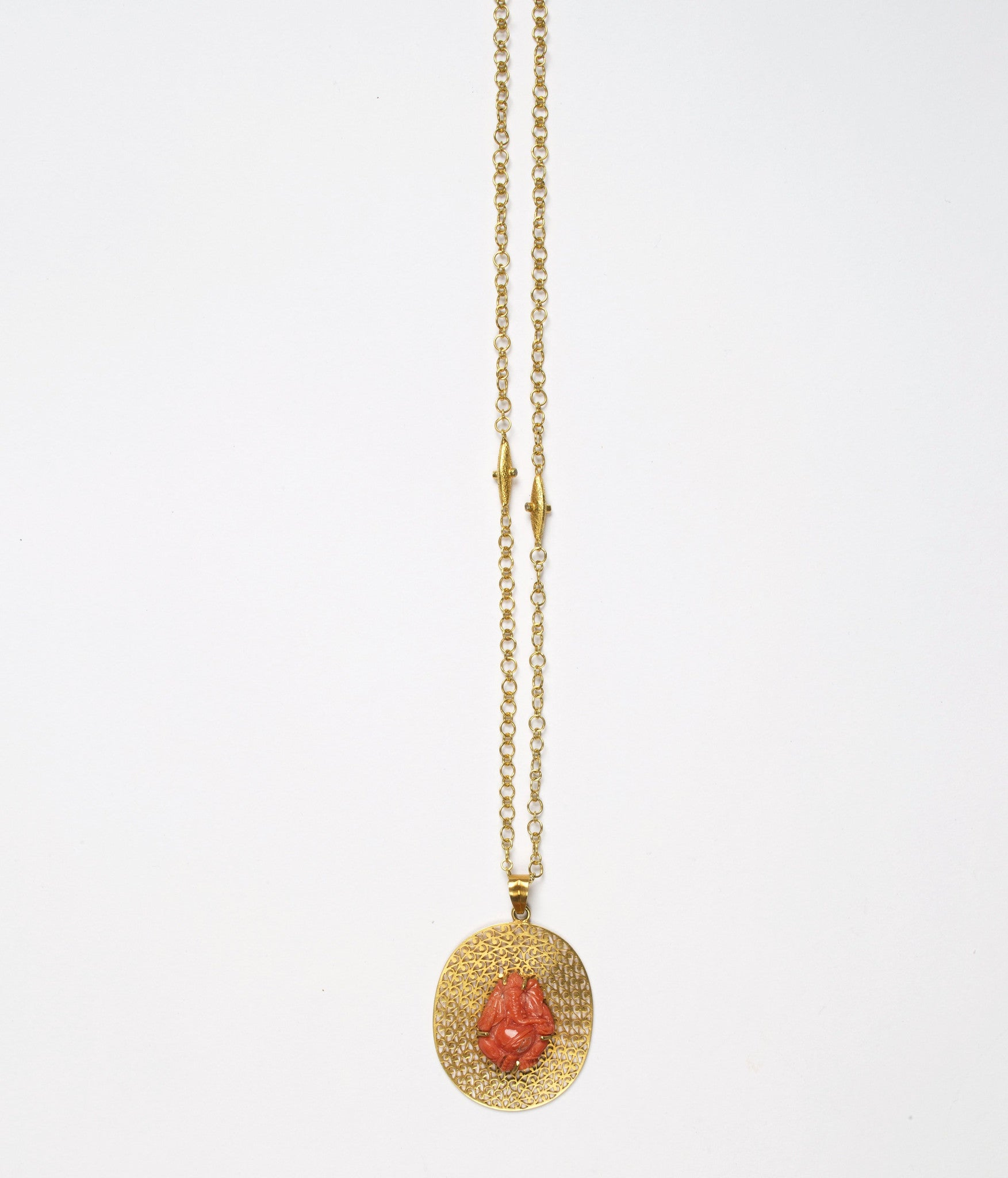 Natural Coral Carving of Ganesh - Pendant in 14K Gold with Signature JS Noor Filligree work - Inspired Luxe
