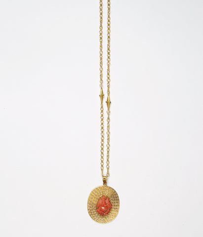 Natural Coral Carving of Ganesh - Pendant in 14K Gold with Signature JS Noor Filligree work