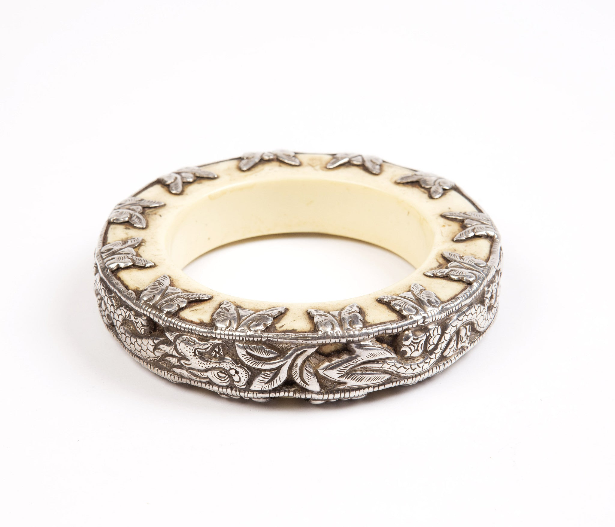 Silver Copal Dragon Bangle