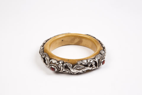 Silver Cutwork & Coral Bangle