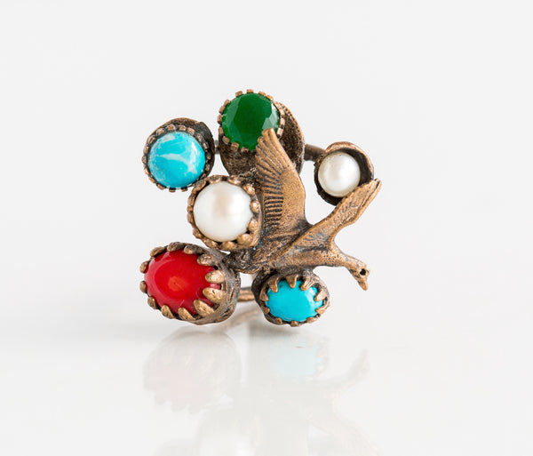 Bronze Turquoise Coral Bird II - Inspired Luxe