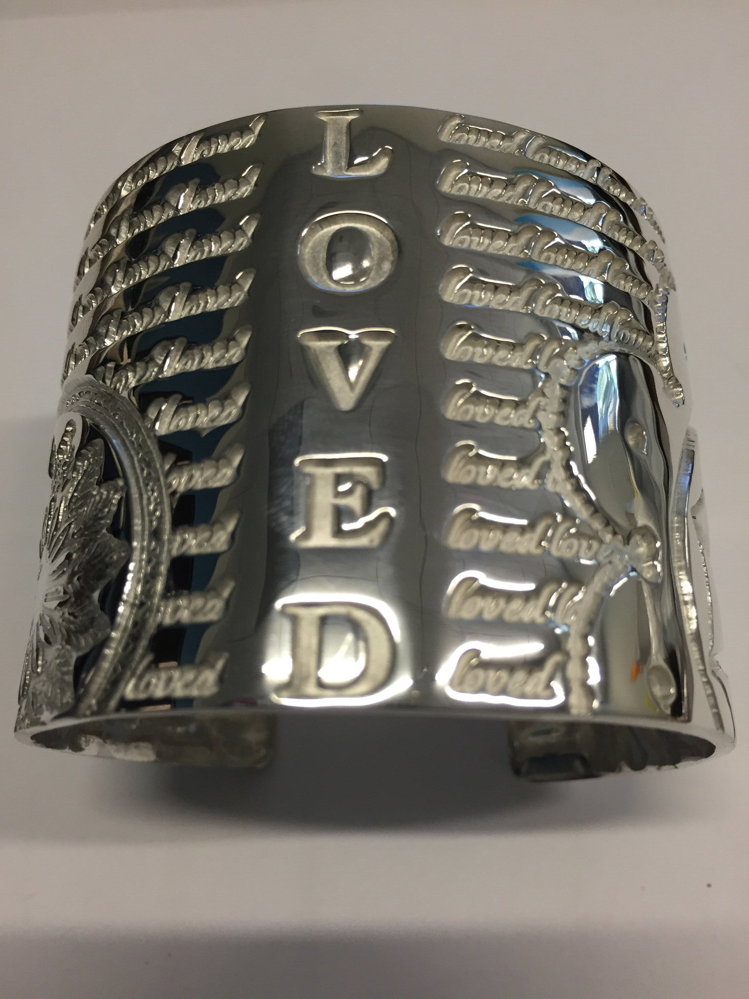 Decorative LOVED Cuff (Sterling Silver) - Inspired Luxe