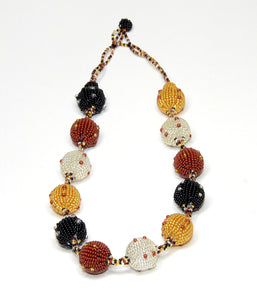 Fruit Ball Necklace (bronze, gold & silver & cinnamon) - Inspired Luxe