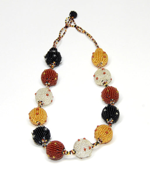 Fruit Ball Necklace (bronze, gold & silver & cinnamon)