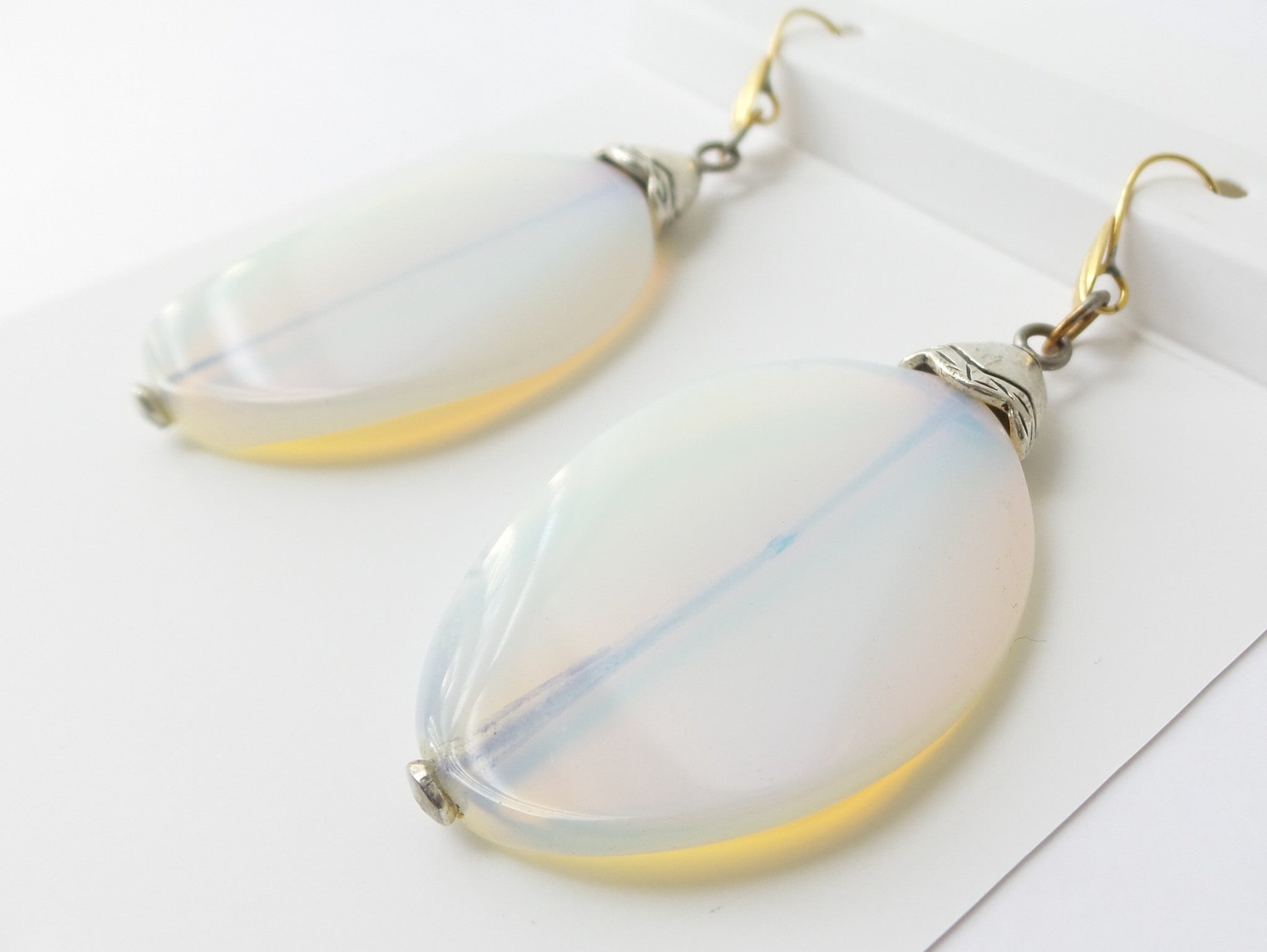 White Opalite Milkglass Oval Earrings