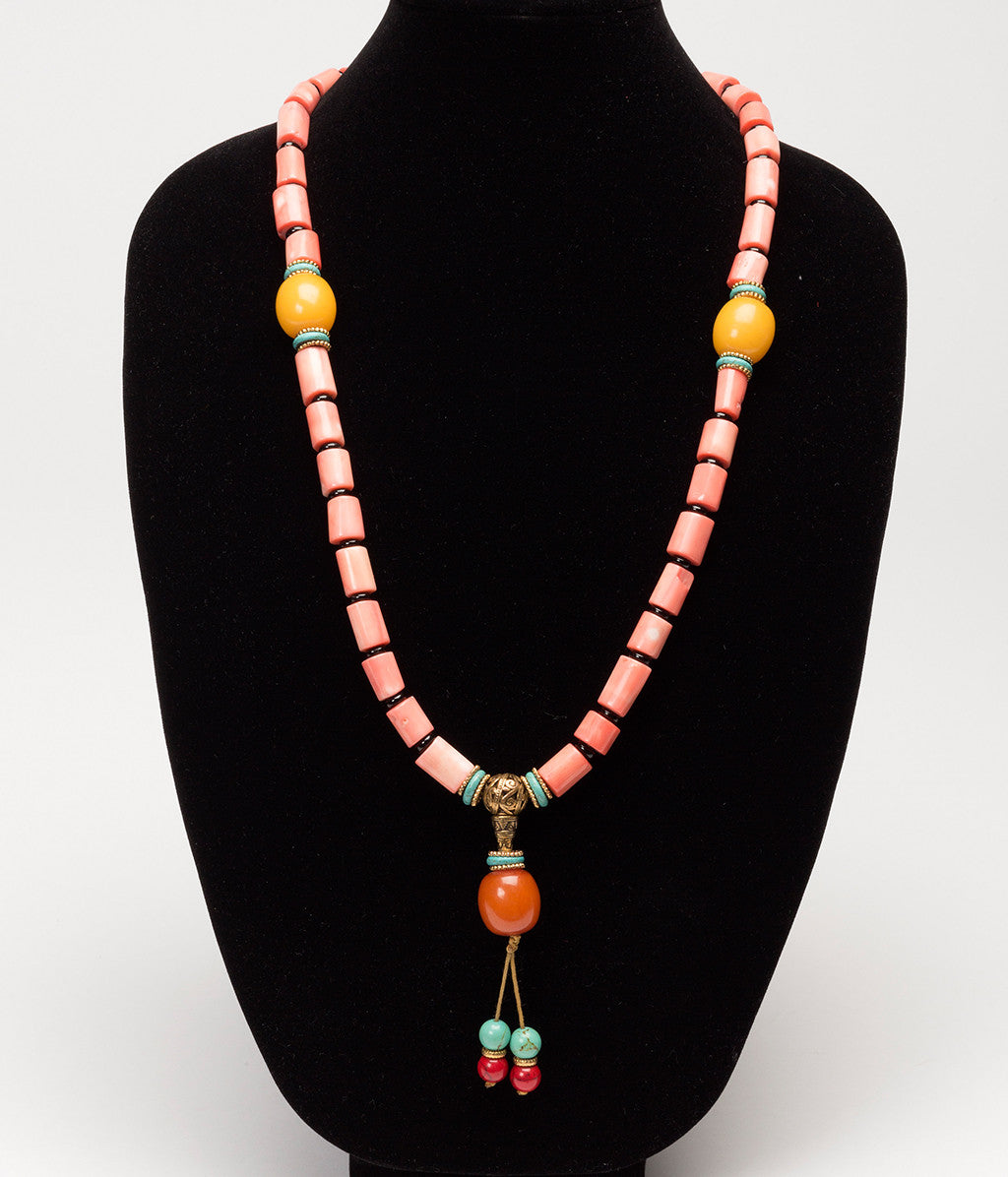 Coral and Amber Necklace - Inspired Luxe