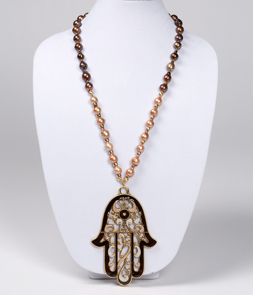 Pearl Necklace with Hamsa Pendant