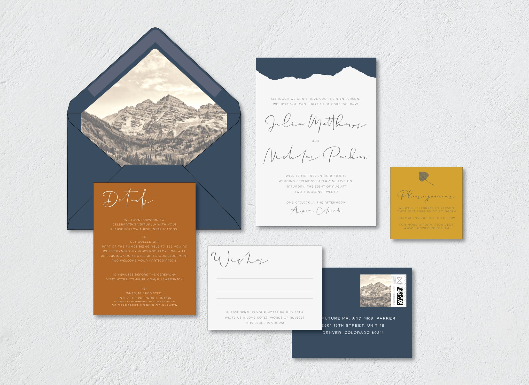Lucky Onion Aspen Mountain Virtual Wedding Elopement Invitation Stationery Suite in Coronavirus Times