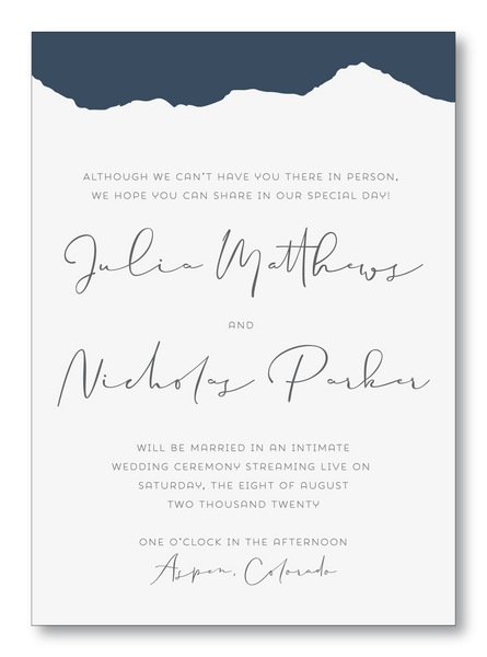 Lucky Onion Aspen Mountain Virtual Elopement Wedding Invitation