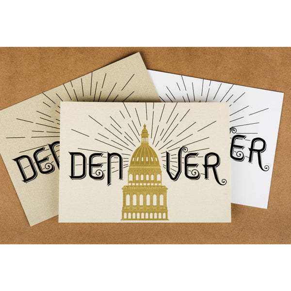 Postcard: Gold Foil Denver Capitol