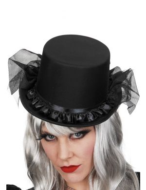 Satin Top Hat W/Flowers & Veil
