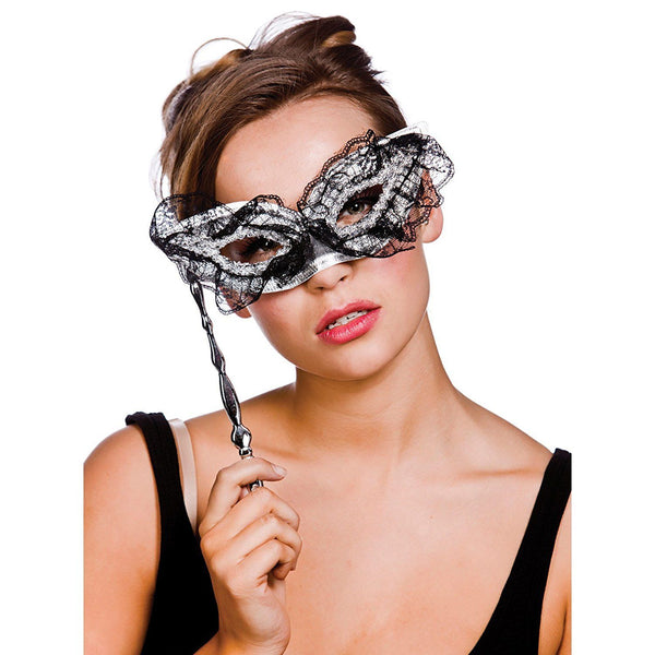 WOMEN'S BLACK & SILVER LACE EYE MASK ON STICK