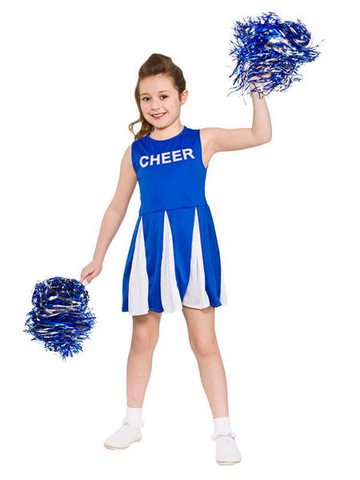 GIRL'S BLUE CHEERLEADER COSTUME