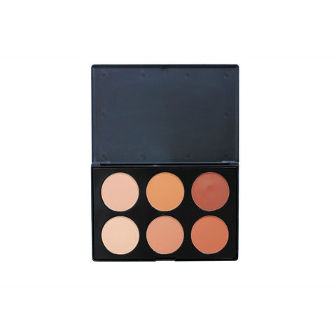 CROWNBRUSH 6 COLOUR PRESSED POWDER FOUNDATION PALETTE