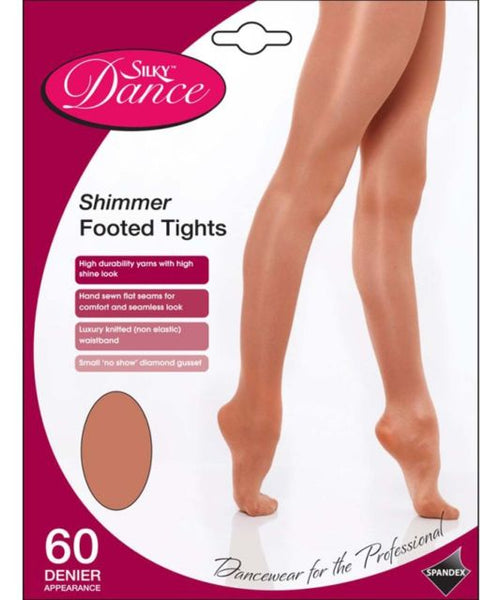 Silky Dance Children's Shimmer Footed Tights (Light Toast)