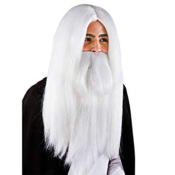 White Wizard Wig & Beard