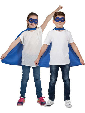 Blue Super Hero Cape And Mask