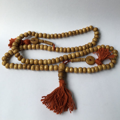 Necklace, mala bead 108 bead, buffalo bone, with tassles, 71cm - 10 pieces