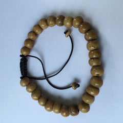 Bracelet, mala bead, 27 beads, buffalo bone, adjustable 11cm (closed), 34cm (open) - 20 pieces