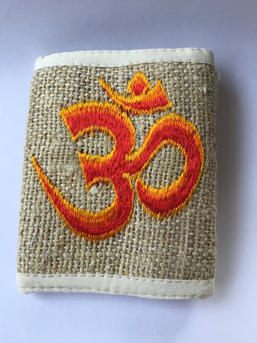 Wallet, hemp, BLUE embroidered Om design, 10cmx12cm (closed), 22cmx12cm (open). 1 piece