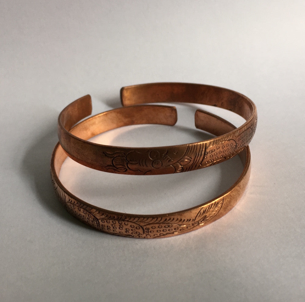 Bracelet, solid copper, patterned - 20 pieces