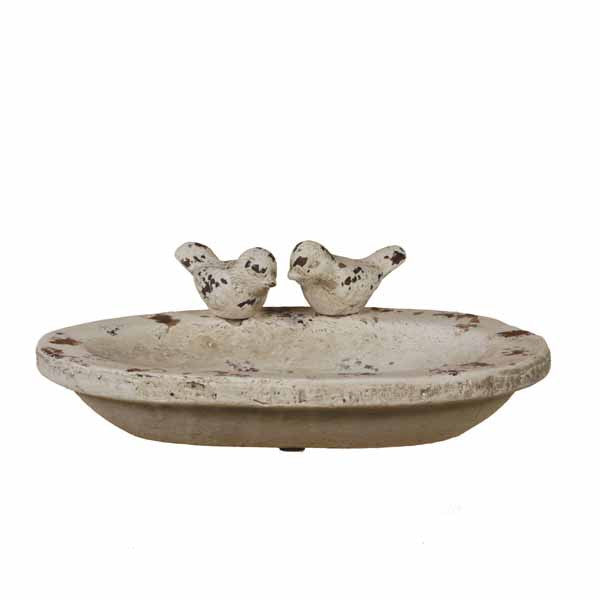 White Wash Ceramic Bird Basin
