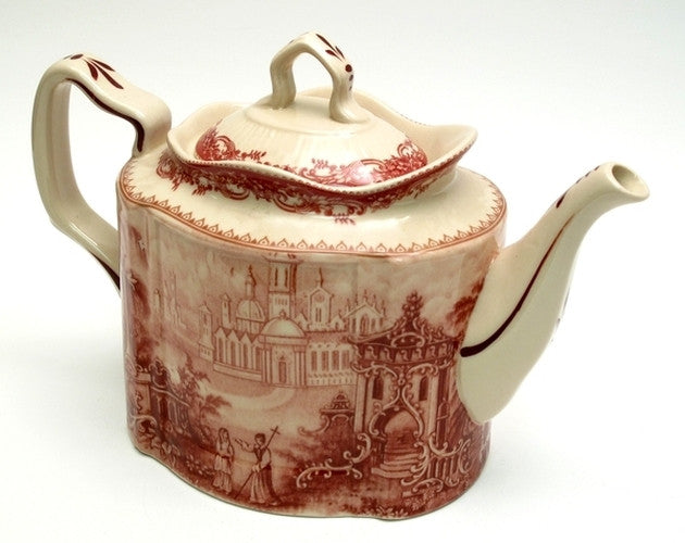 Red & White Victorian Tea Pot